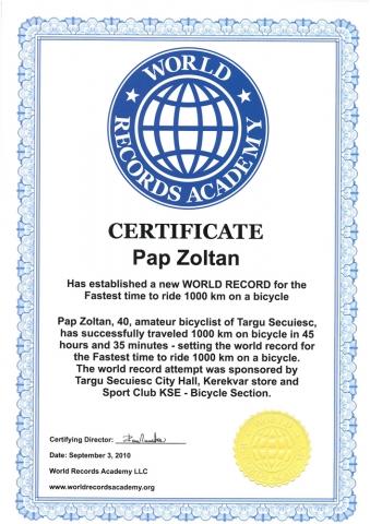 Papp Zoltán - Word Records Academy oklevél 2010